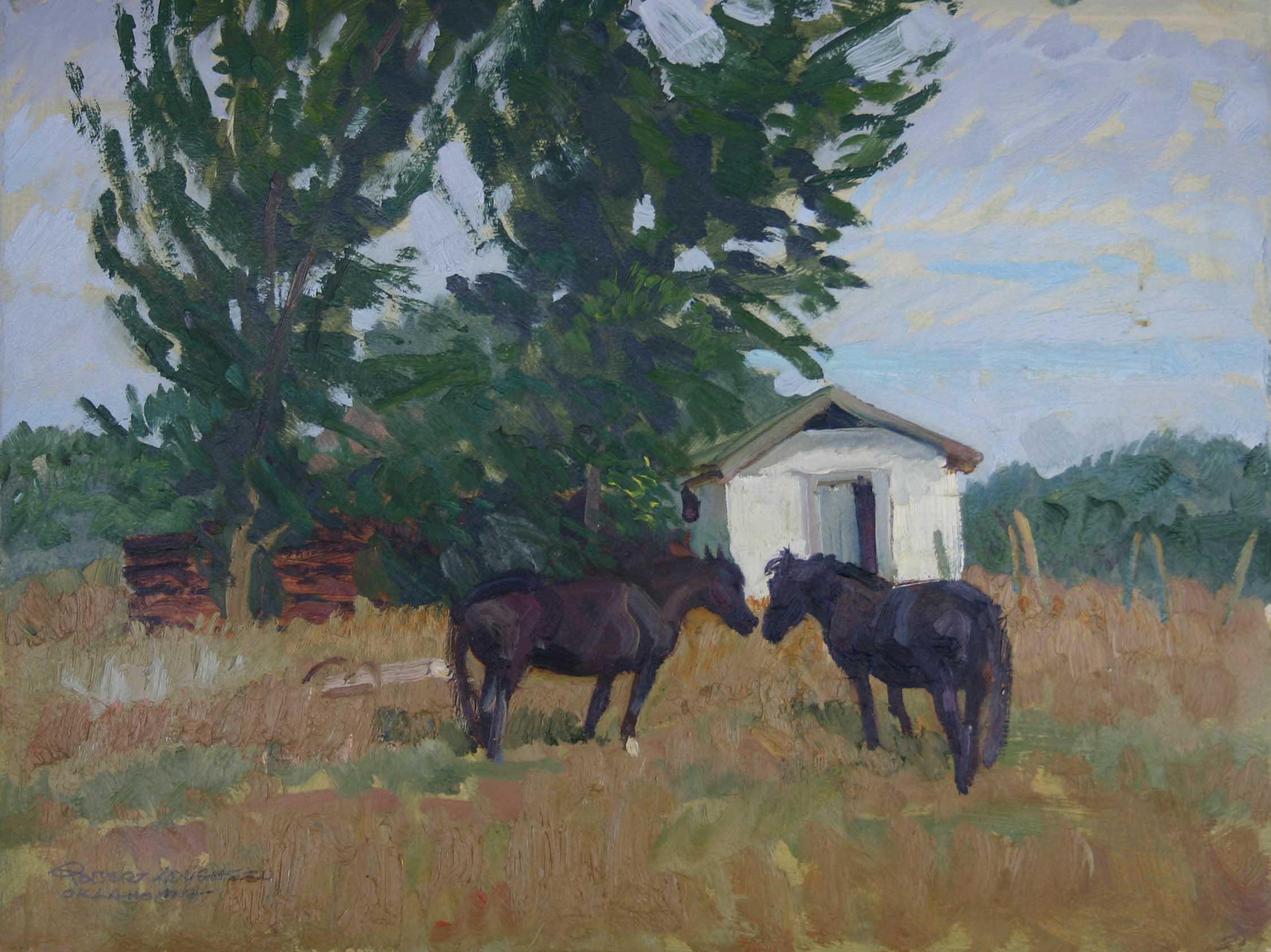 Two Black Horses by  Robert Lougheed - Masterpiece Online