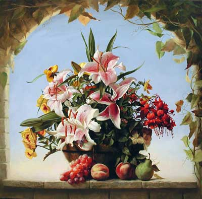 Lilies & Fruit by  Alexei Antonov - Masterpiece Online