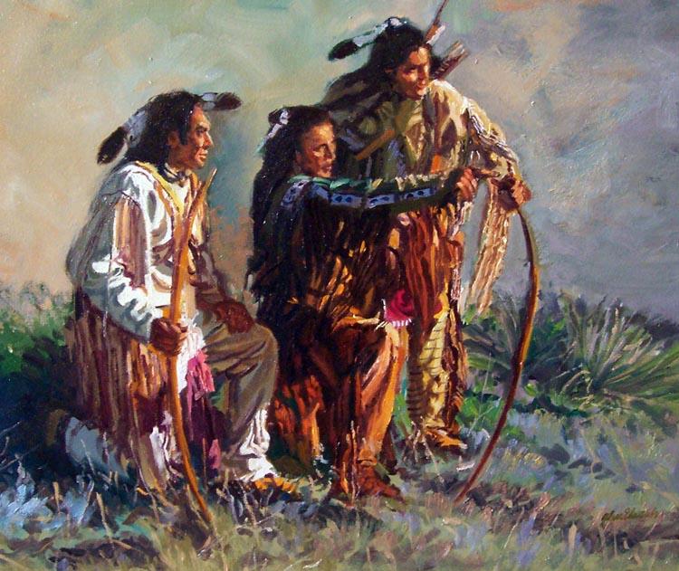 SOLD- Three Hunters by  Glen Edwards - Masterpiece Online