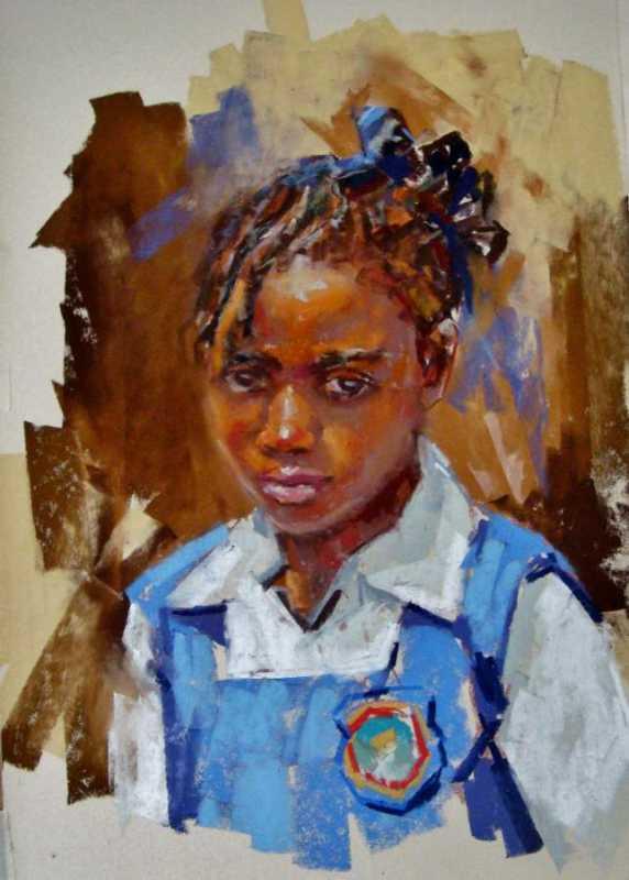 School Girl Blue by Mrs. Vishni Gopwani - Masterpiece Online
