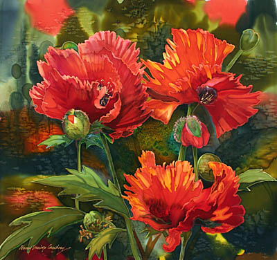 Border Poppies by MS Nancy Dunlop Cawdrey - Masterpiece Online