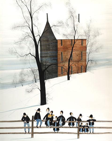 DP-SCHOOL BUS STOP by  P. Buckley Moss  - Masterpiece Online