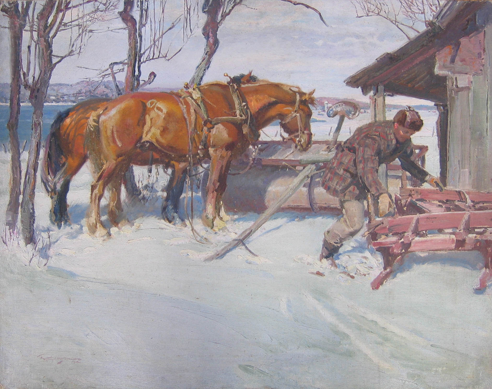 Hitching the Sleigh -... by  Robert Lougheed - Masterpiece Online