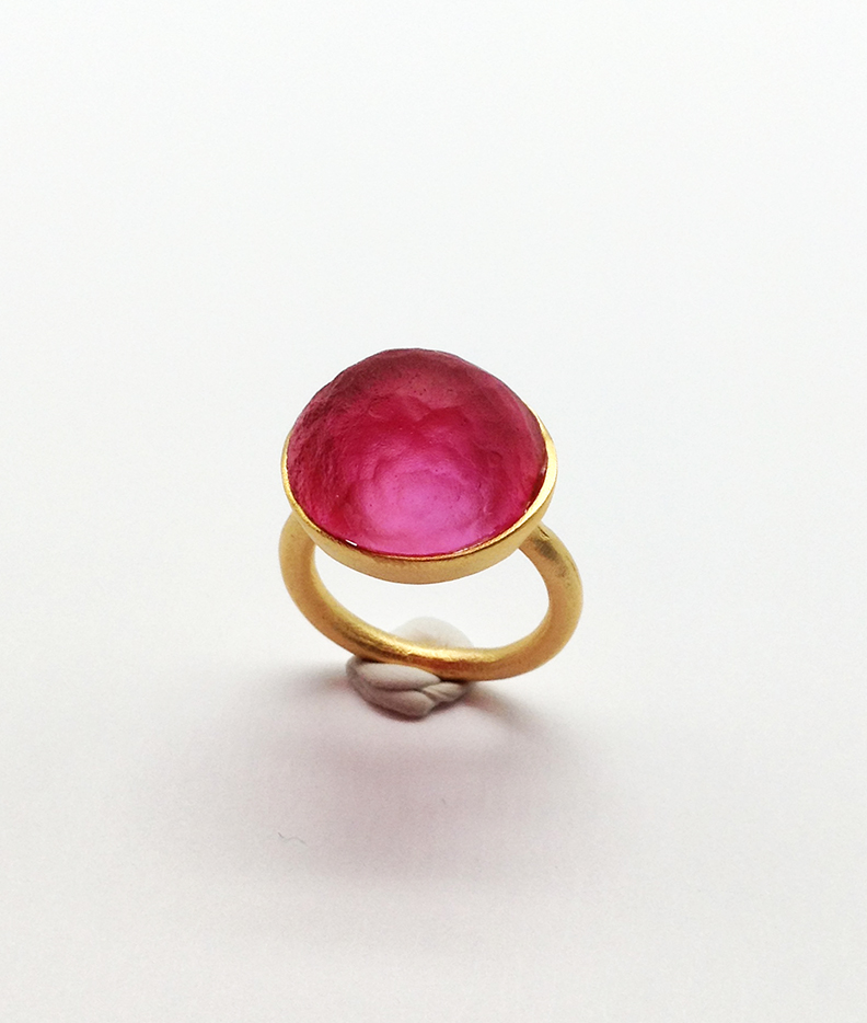 Sol-Single Stone Ring in Pale Ruby Size 6