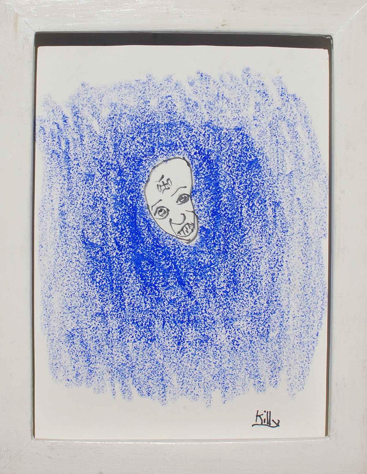 Tete sur fond bleue