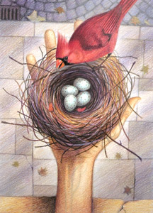 Nest In Hand  by  Jim Lamarche