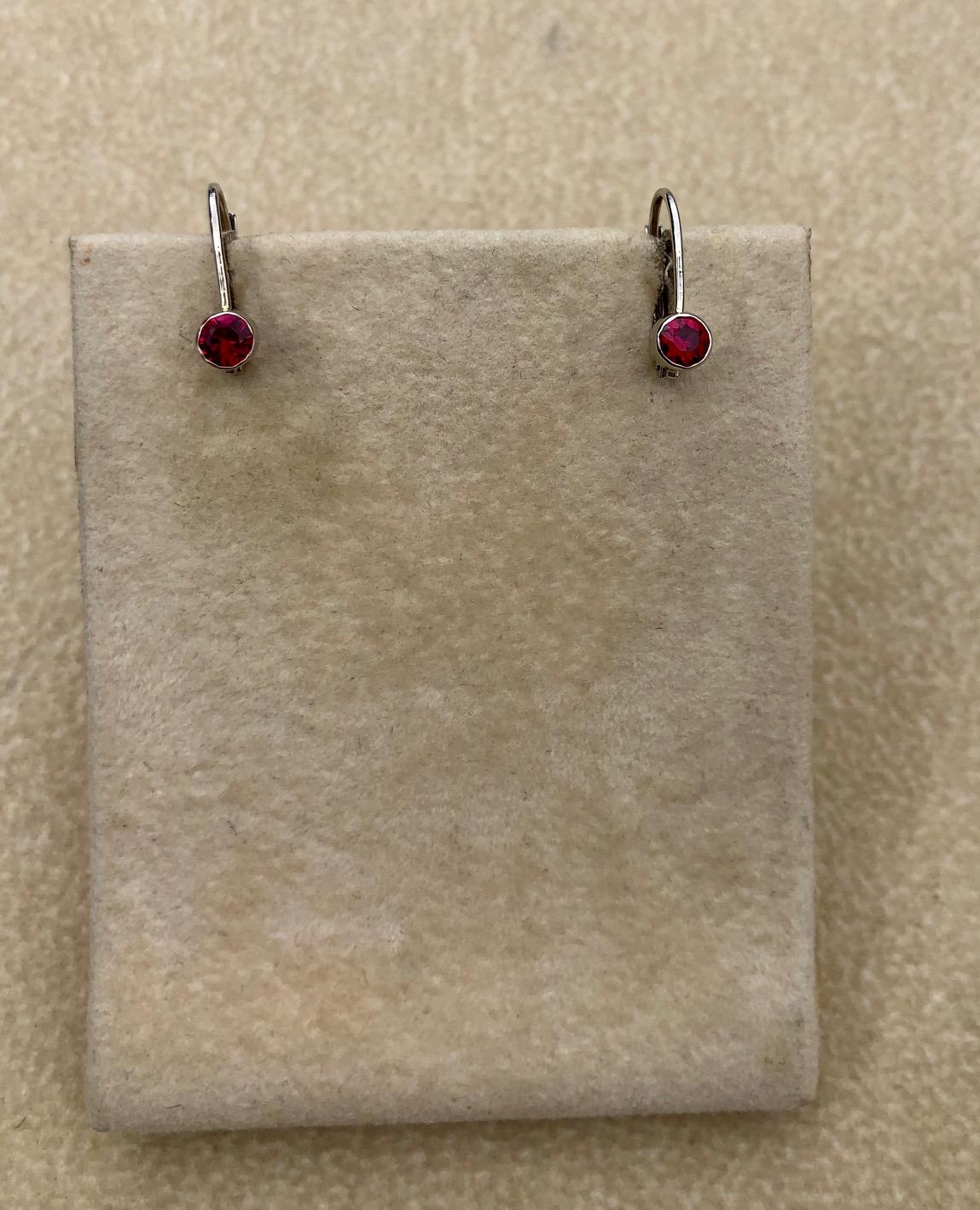 Sterling and Ruby Earrings