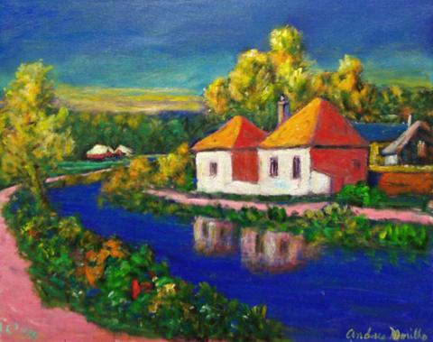 Pink Houses by the Ri... by  Andres  Morillo - Masterpiece Online