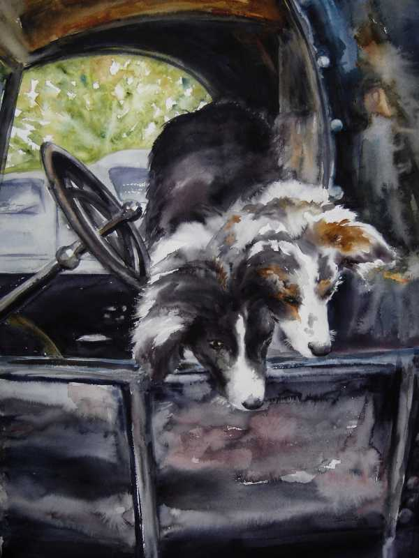 Hanging Out of the Mo...  by Mrs Denise Cole - Watercolors