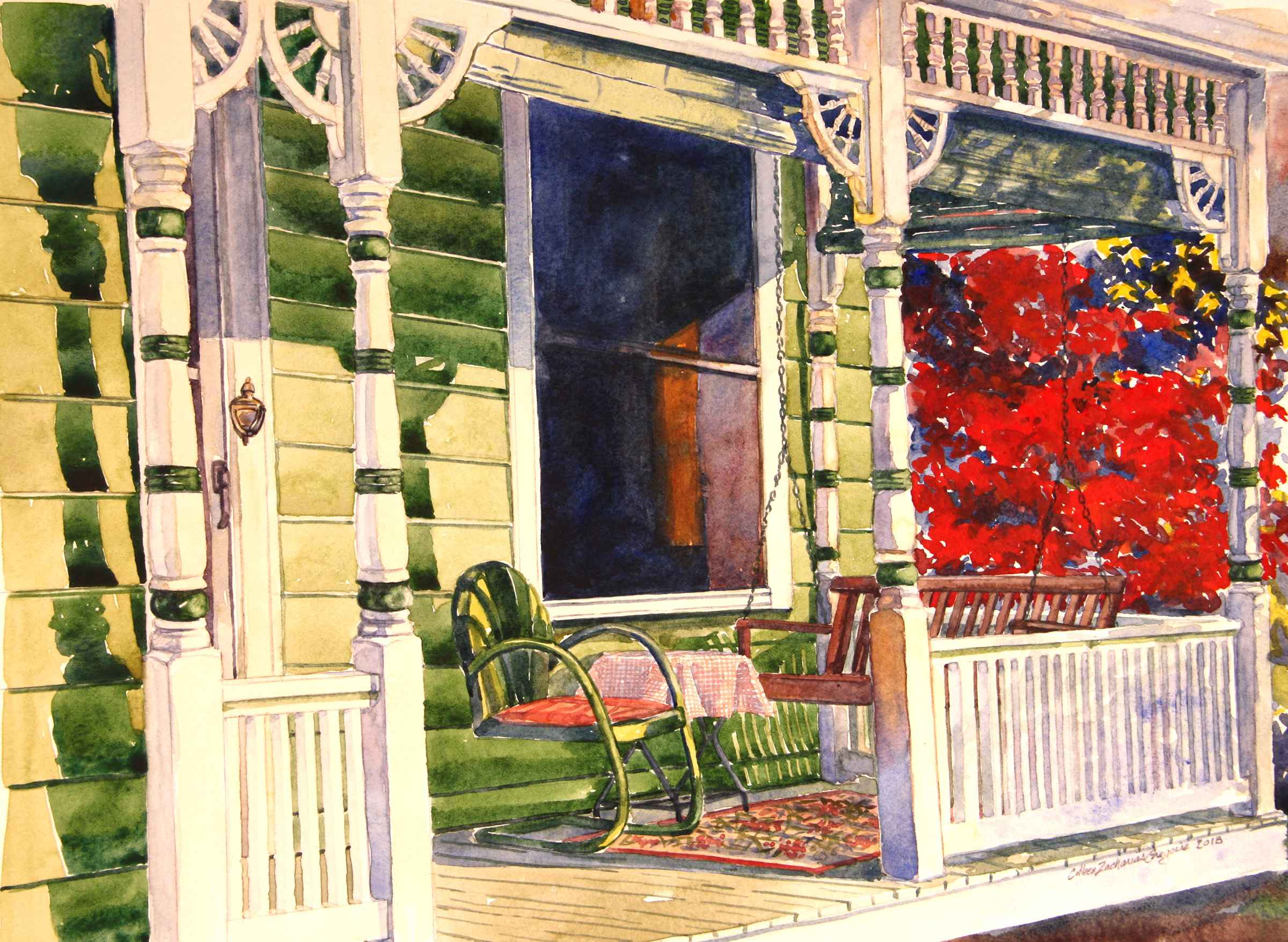Green Porch with Burn...