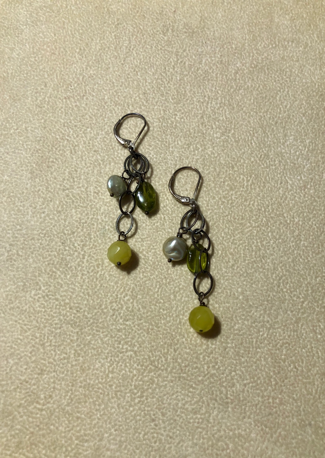 Green Pearl and Peridot Drop Earrings