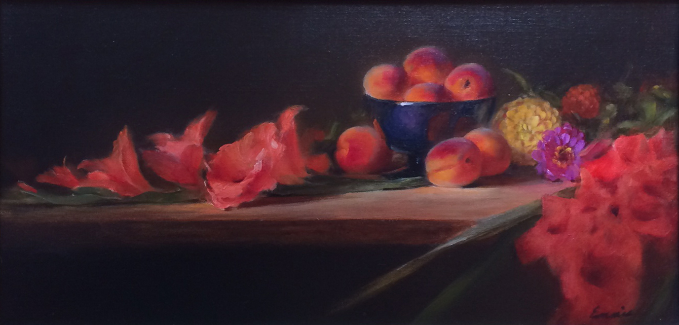 Peaches and Gladioli ... by Ms. Cary Ennis - Masterpiece Online