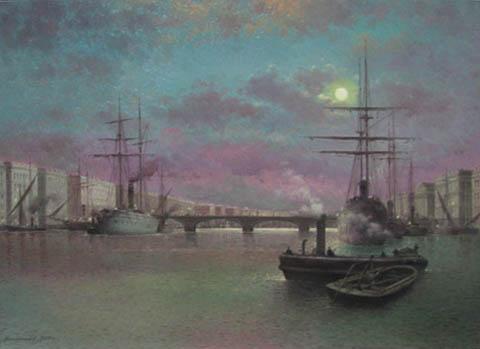 Moonlit Harbor by  Vasily Gribennikov - Masterpiece Online
