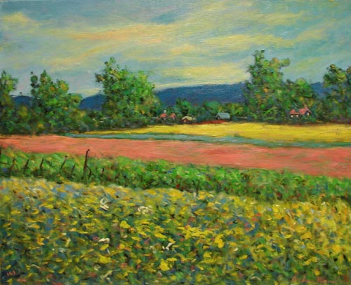 Landscape with Pink &... by  Andres  Morillo - Masterpiece Online