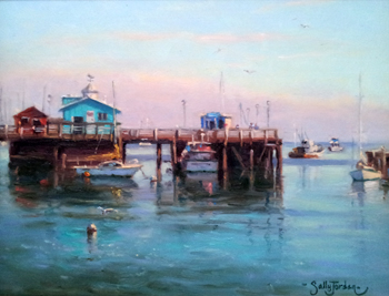 Boats in the Bay by  Sally  Jordan - Masterpiece Online