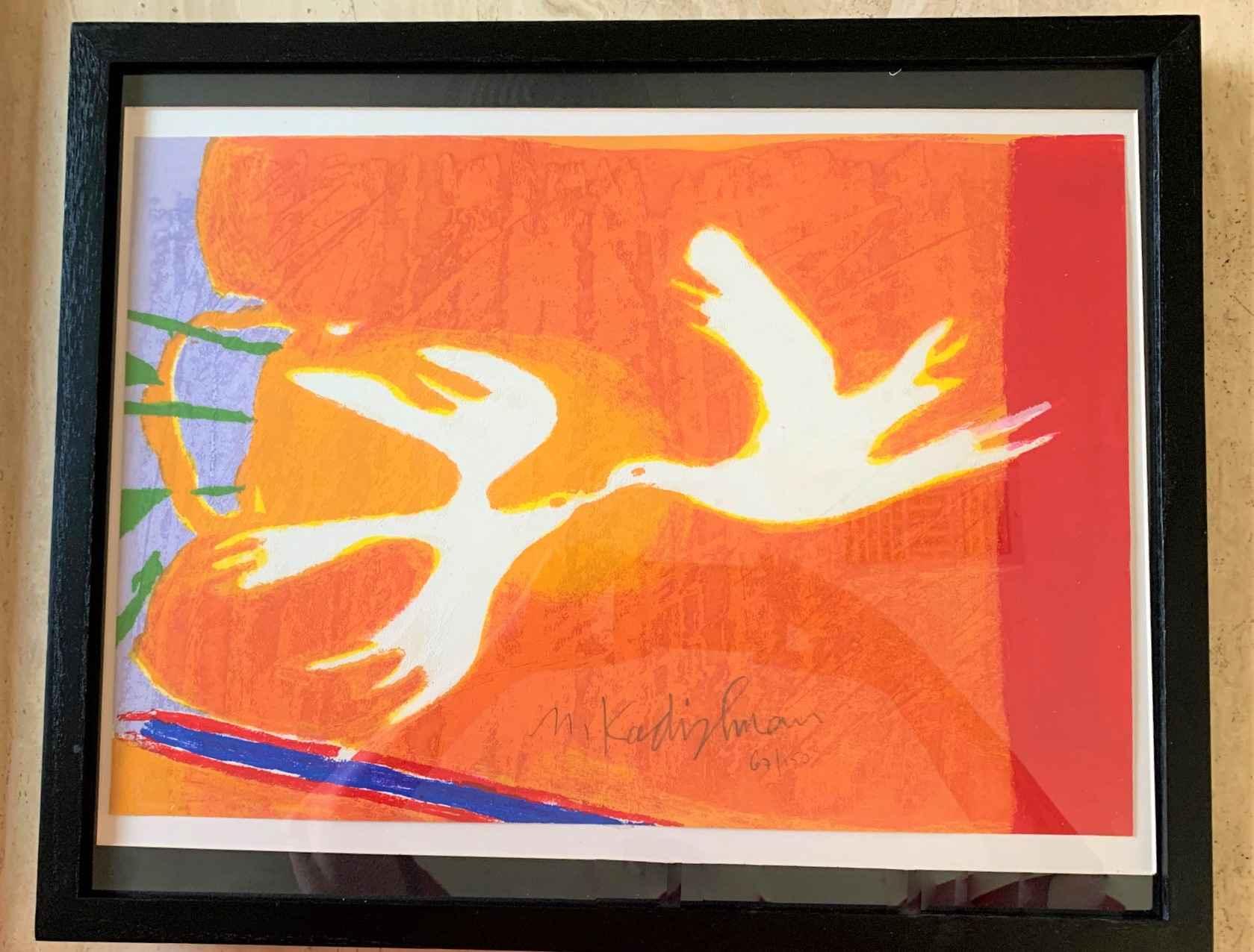 Kissing Birds (Doves ... by  Menashe Kadishman - Masterpiece Online