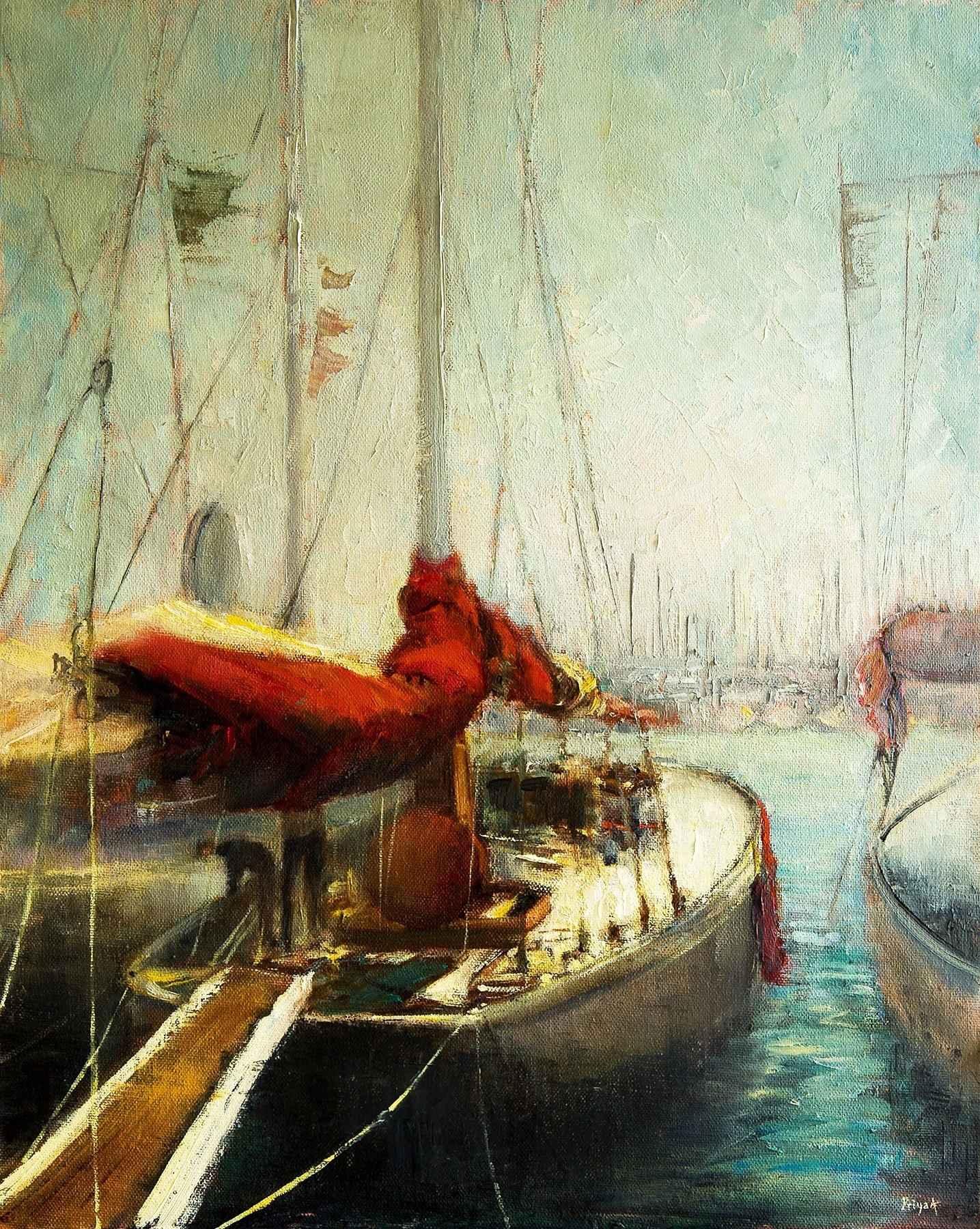Boats at Port de Cann... by  Priya Ahlawat - Masterpiece Online
