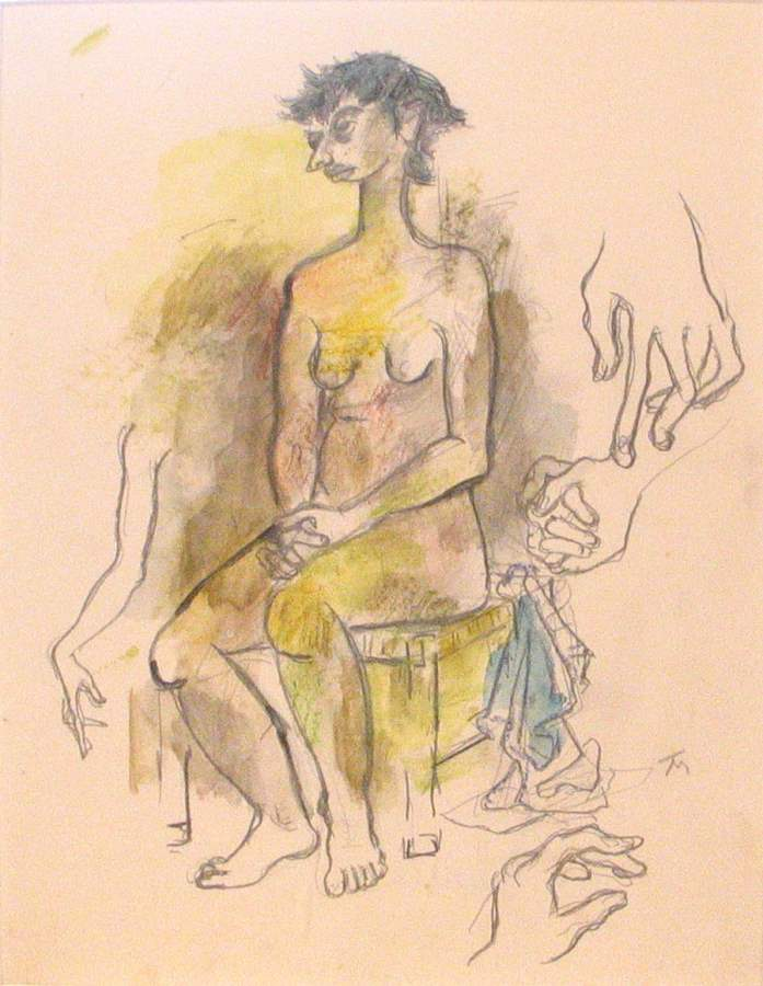 Seated Nude with Hand... by  Tom Maley - Masterpiece Online