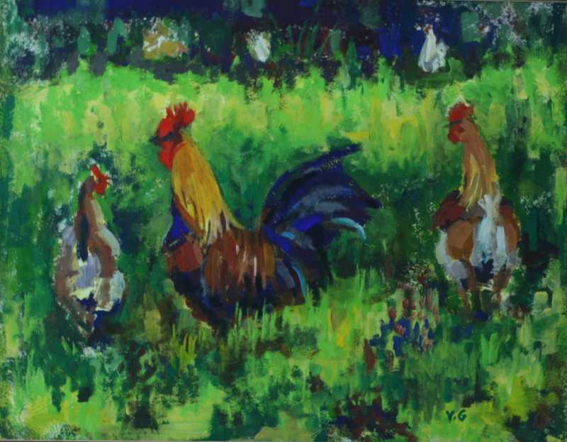 Roosters by Mrs. Vishni Gopwani - Masterpiece Online