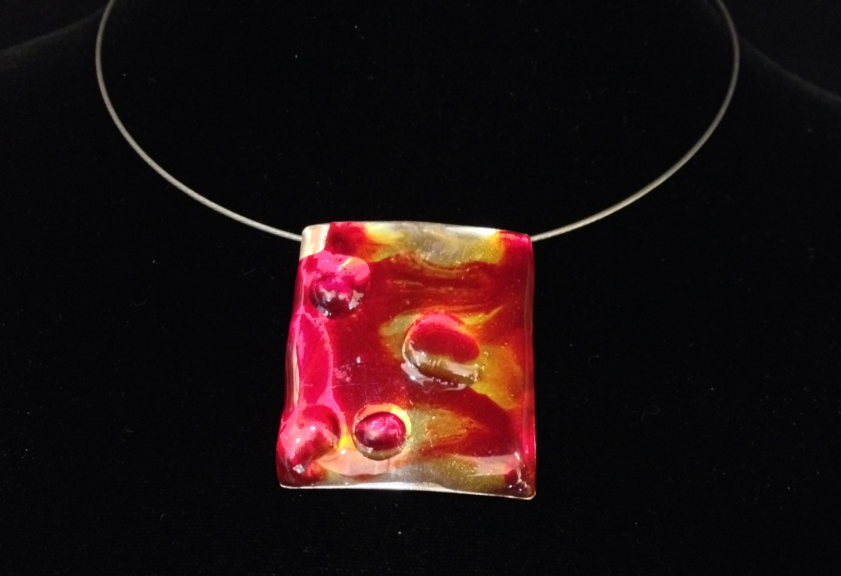 Red Rectangle Pendant by  Dorit Herlinger - Masterpiece Online