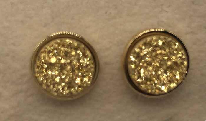 8mm Gold Druzy set in Gold Earrings