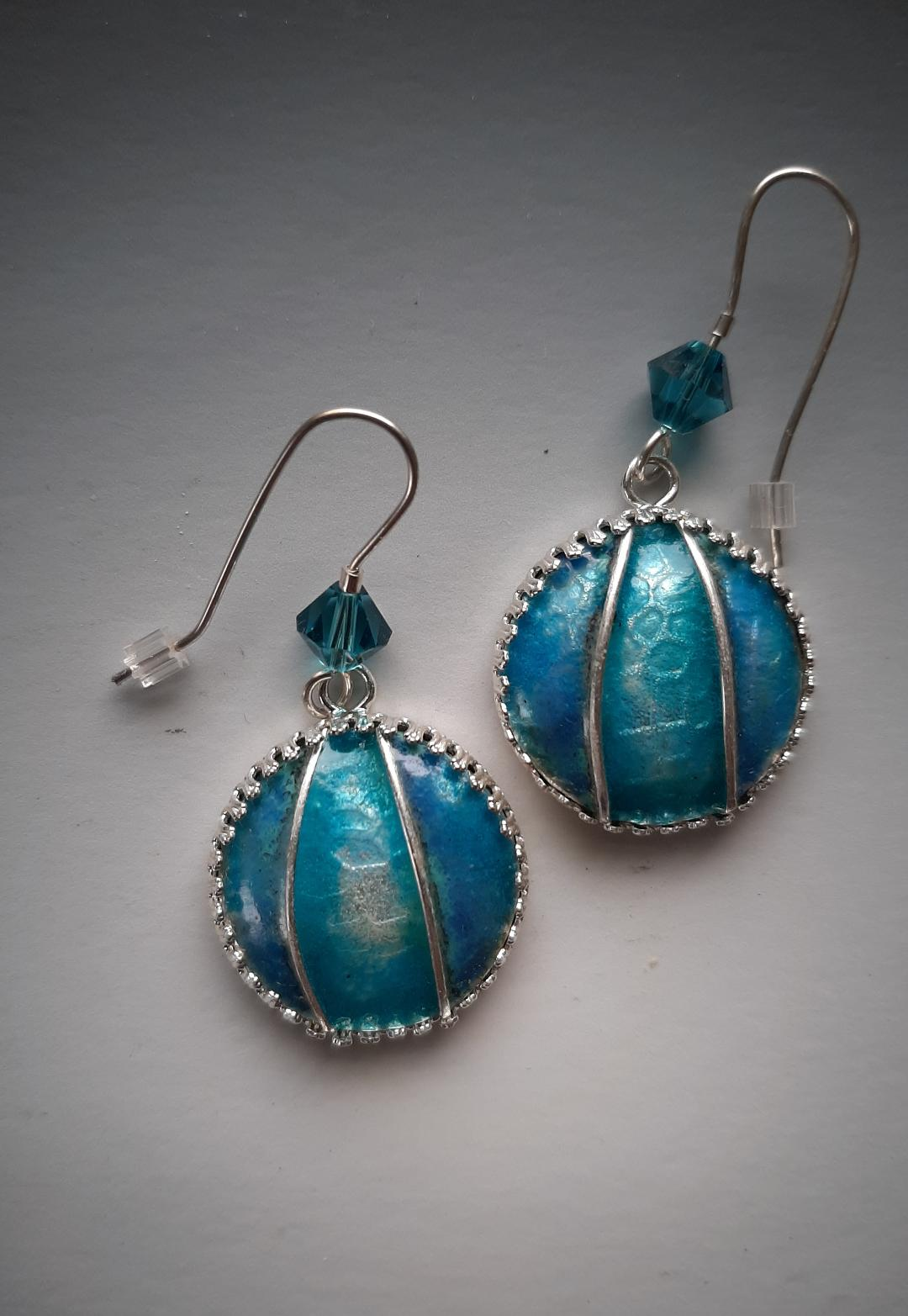 Silver Cloisonne Turquoise Earrings