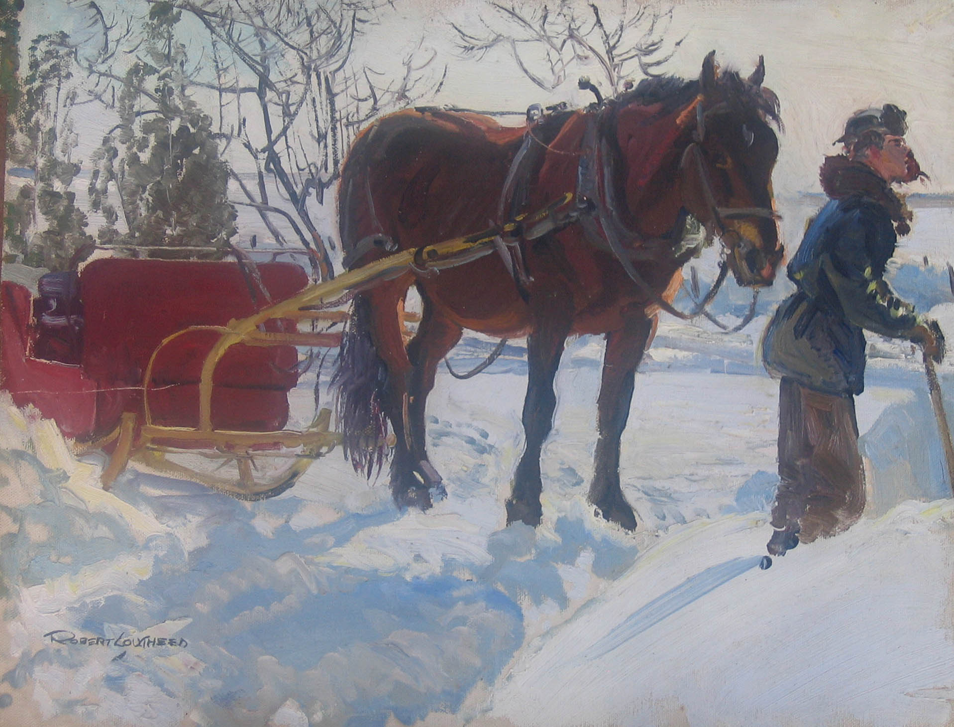 Driver and Red Sleigh by  Robert Lougheed - Masterpiece Online