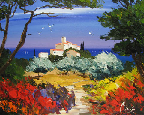 Seabirds and Olive Gr... by  Louis  Magre - Masterpiece Online