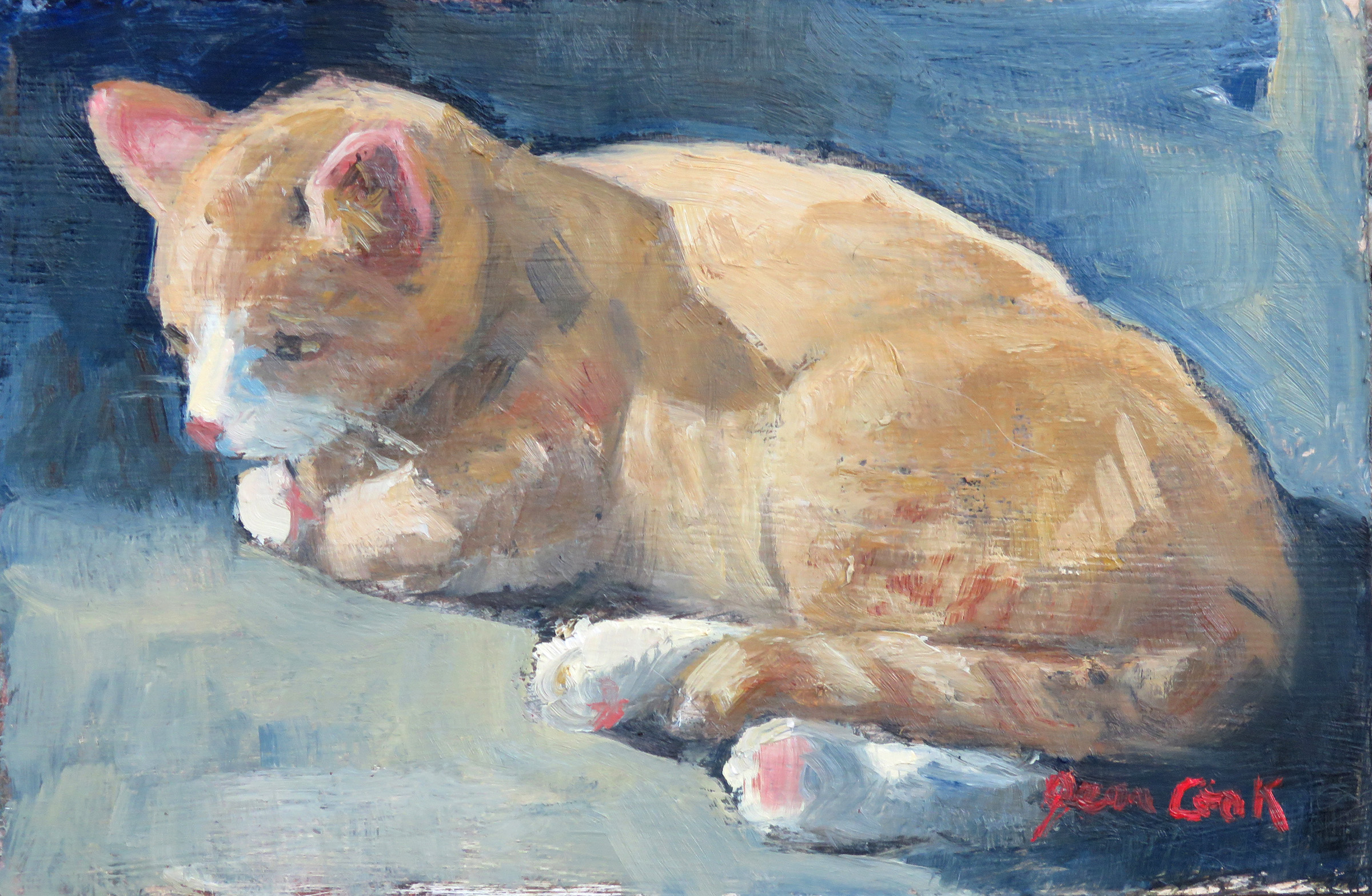 Holly's Yellow Cat by  Jean Cook - Masterpiece Online