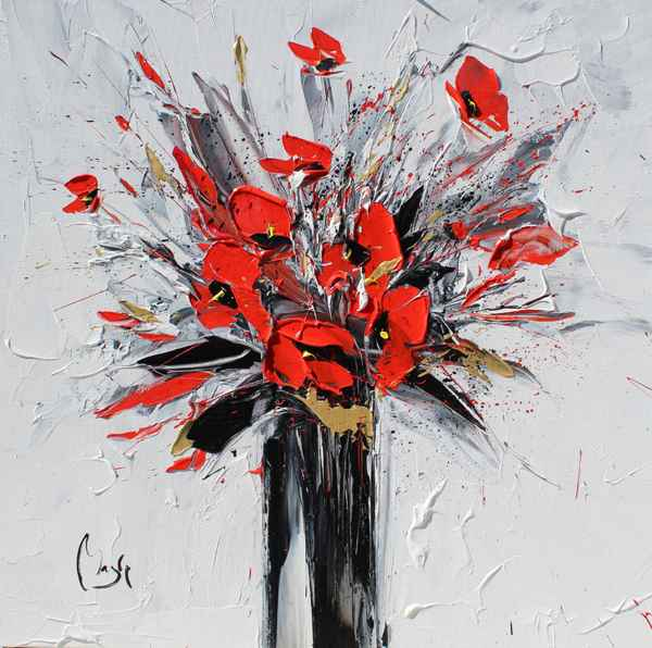 Red Poppies, Black Va... by  Louis  Magre - Masterpiece Online