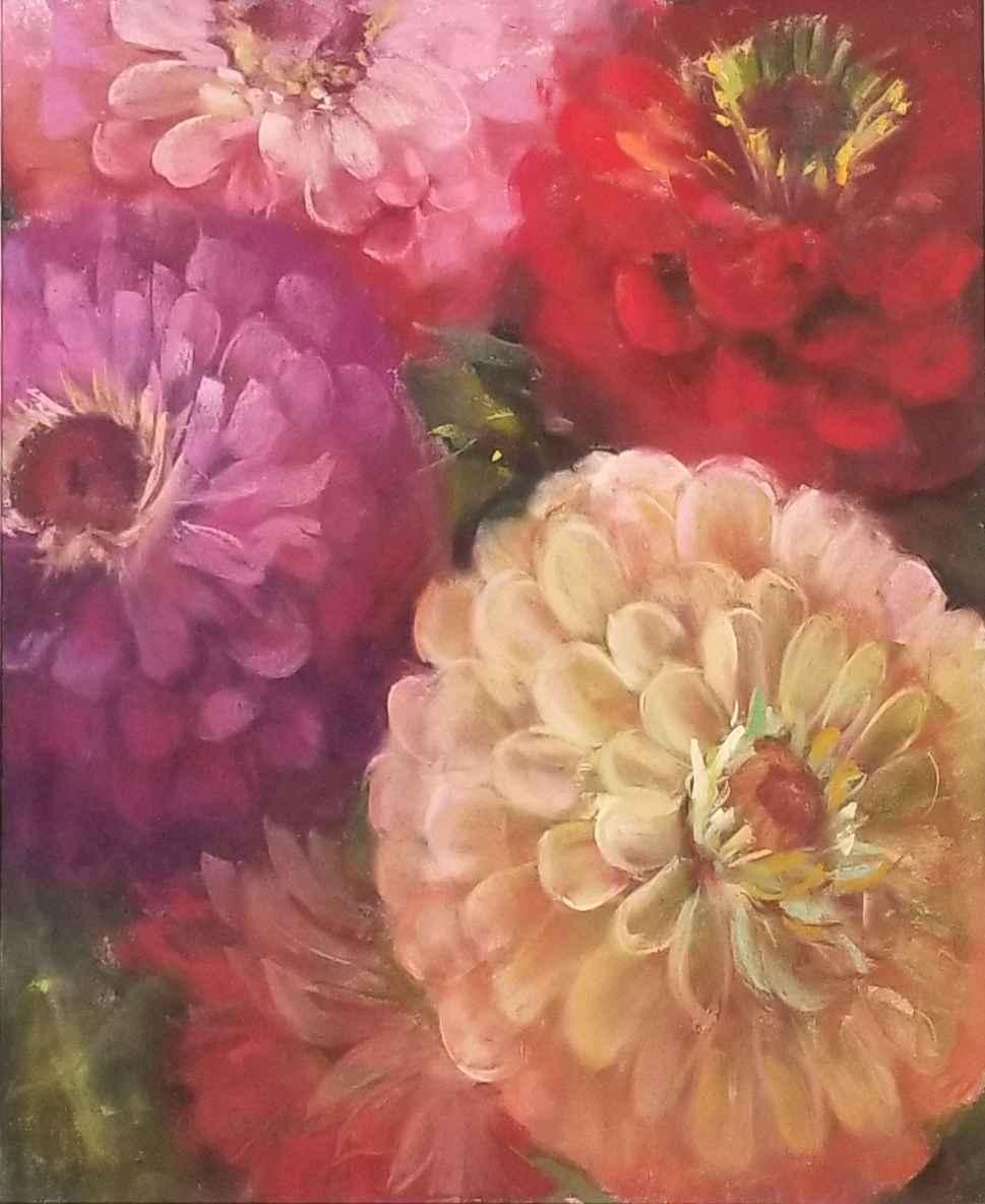 Zinnias II by  Carol Rowan - Masterpiece Online