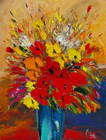 Red & Orange Poppies by  Louis  Magre - Masterpiece Online