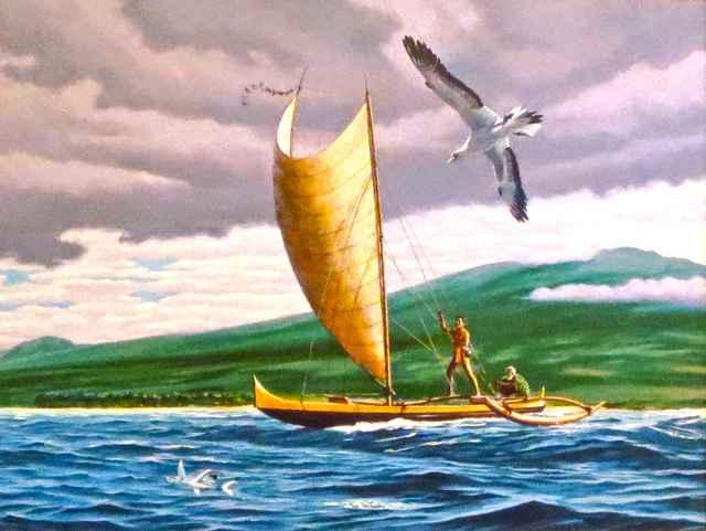 Fishing Canoe off Nor... by  Herb Kawainui Kane (1928-2011) - Masterpiece Online