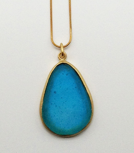 Large Pear Shape Pendant in Turquoise