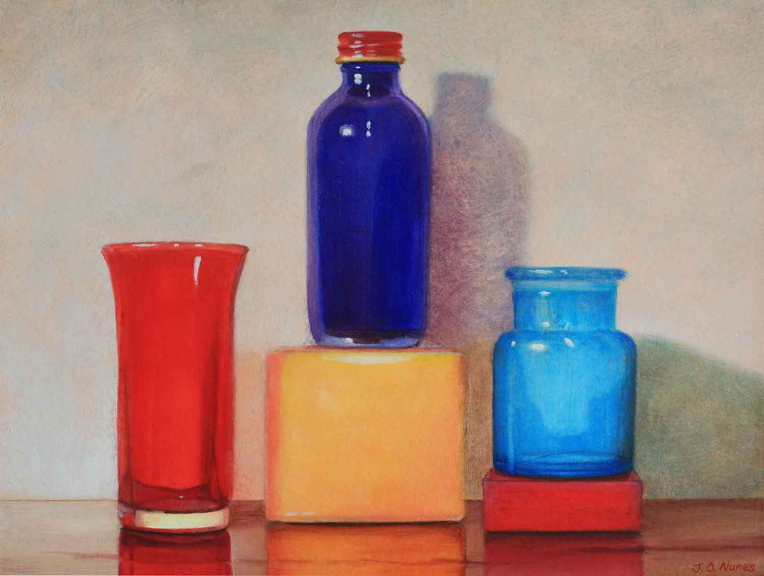 Blue Bottle With Red ...  by Ms. Judy Nunes