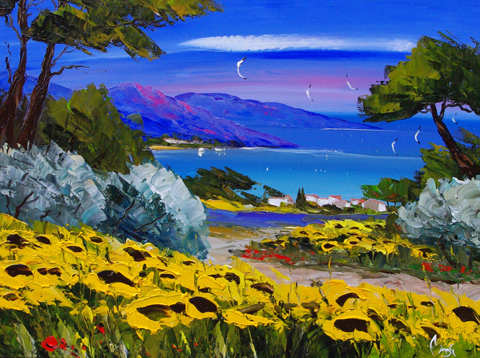 Sunflowers near the V... by  Louis  Magre - Masterpiece Online