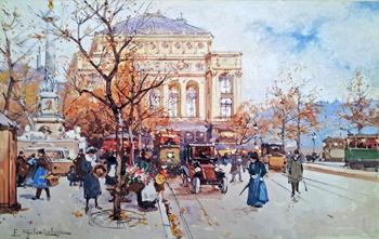 La Place du Chatelet represented  by  E. Galien Laloue