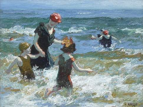 A Timid Bather by  Edward Henry Potthast - Masterpiece Online