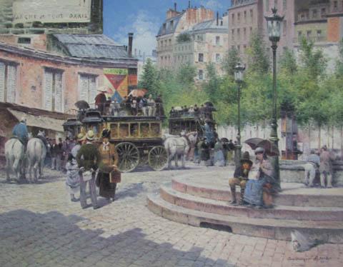 Omnibus in Paris by  Vasily Gribennikov - Masterpiece Online
