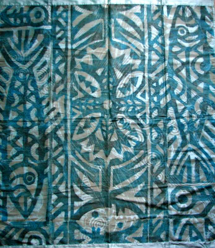Blue and Grey on Turq... by   Pili Designs - Masterpiece Online