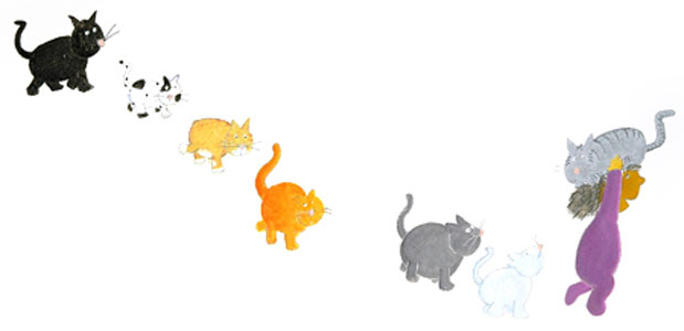 Cats In Line  by  Barney Saltzberg