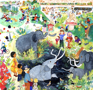 The La Brea Tar Pits represented  by  Elisa Kleven