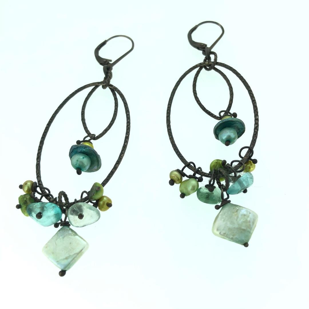 Pearl Double Hoop Earrings