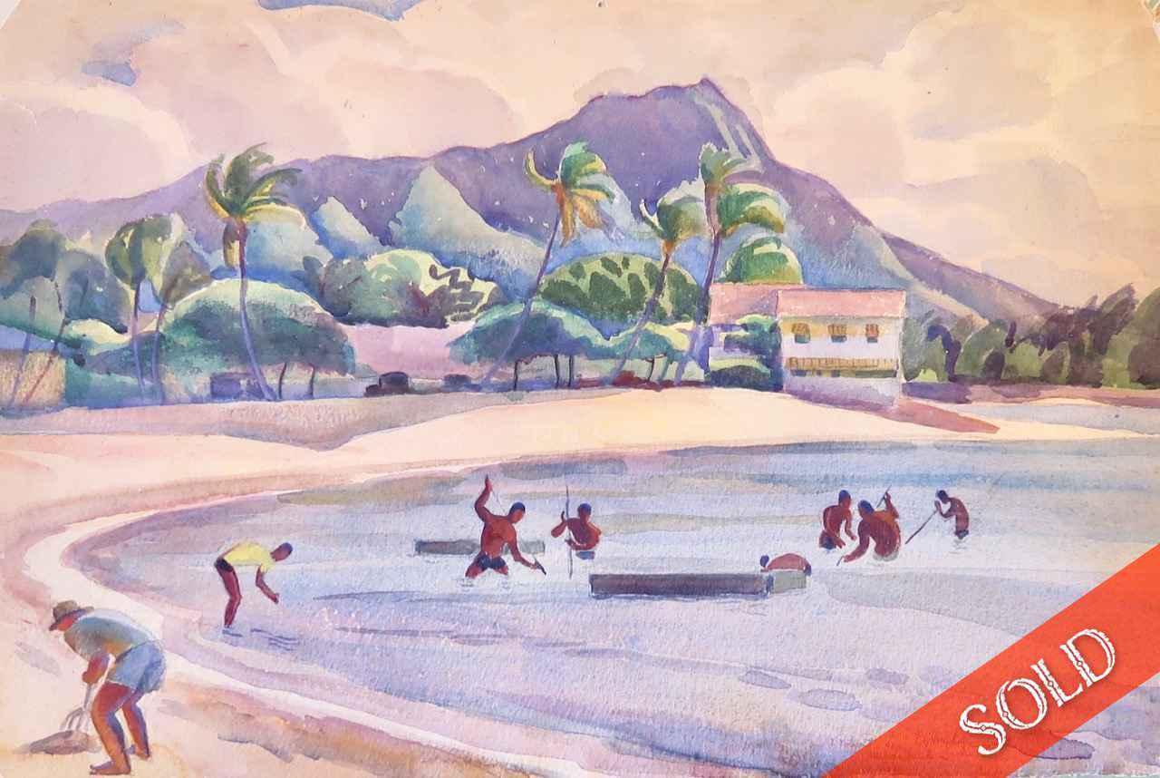 Fishing at Waikiki, H... by  Robert Lee Eskridge (1891-1975) - Masterpiece Online