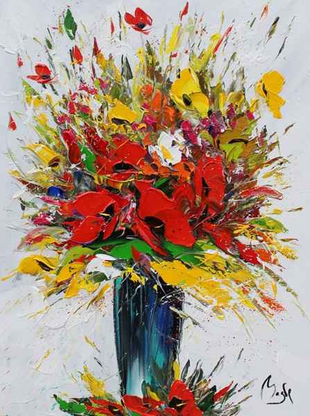 Red & Yellow Bouquet by  Louis  Magre - Masterpiece Online