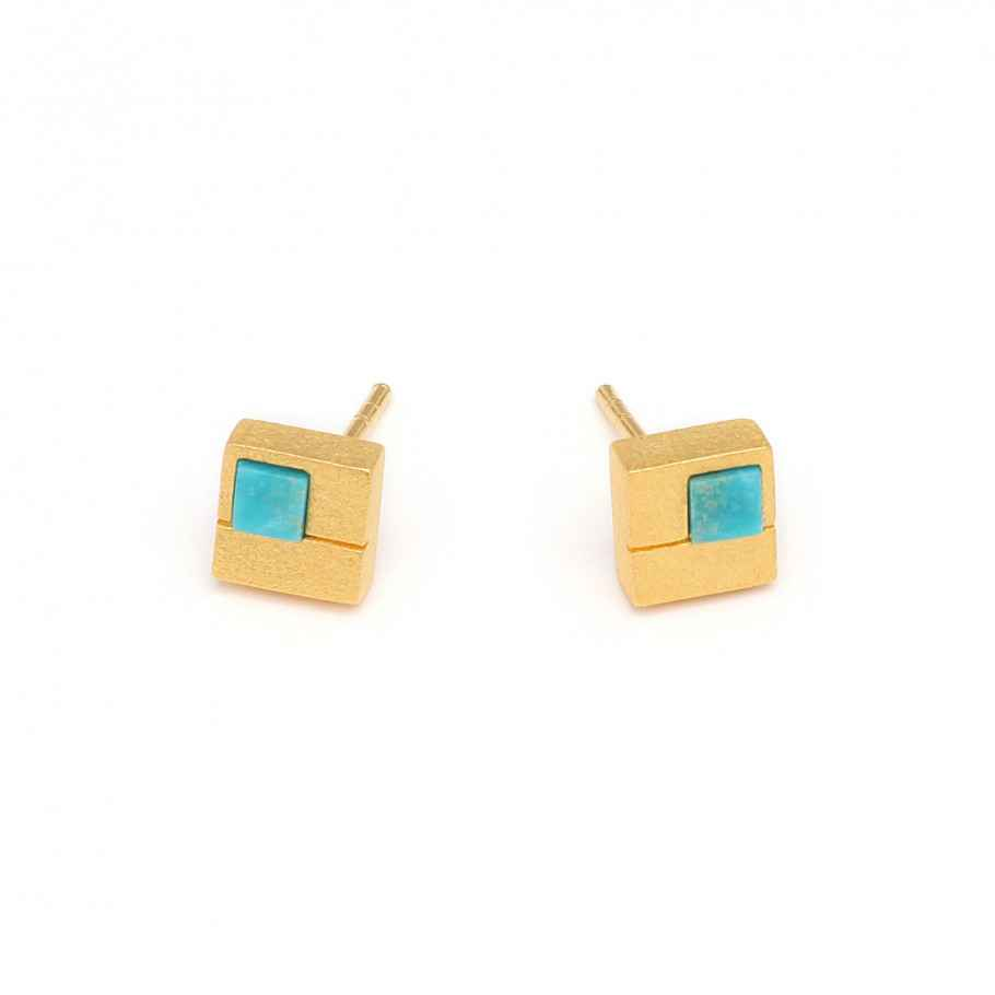 Cubio Turquoise Earri... by  Bernd Wolf - Masterpiece Online