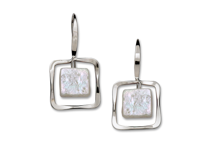 Zenith Earrings Sterling Silver with Freshwater Pearl, medium