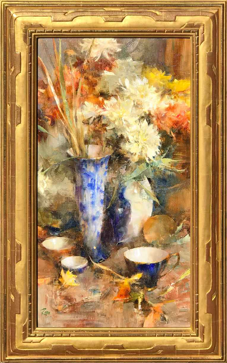 Dahlias and Flow Blue by Ms. Laura Robb - Masterpiece Online