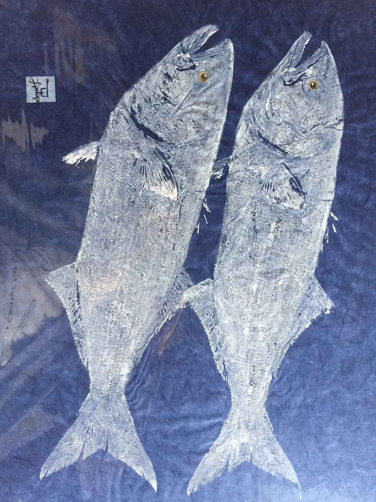 Two white Bluefish on... by  Steve London - Masterpiece Online