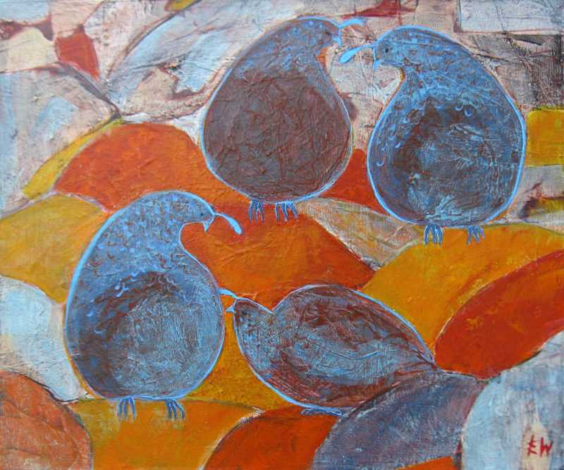 Four Quails on the Ro... by  Ingrid Winkler - Masterpiece Online